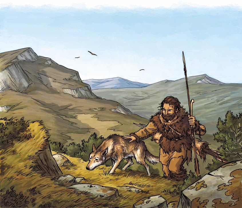 Paleolithic man with his hunting dog by Eric Le Brun | Prehistoric ...