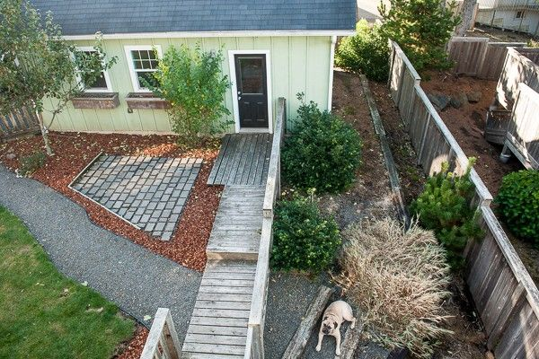 Main backyard on left separated from the dog run (right ...
