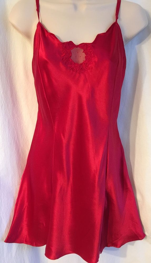 21be6431b0 VICTORIAS SECRET Large Red 100% Silk SLIP CHEMISE NIGHTGOWN Lingerie  Nightie L