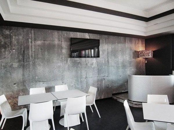 Modern Restaurant Interior Design Ideas With Concrete Wallpaper ...