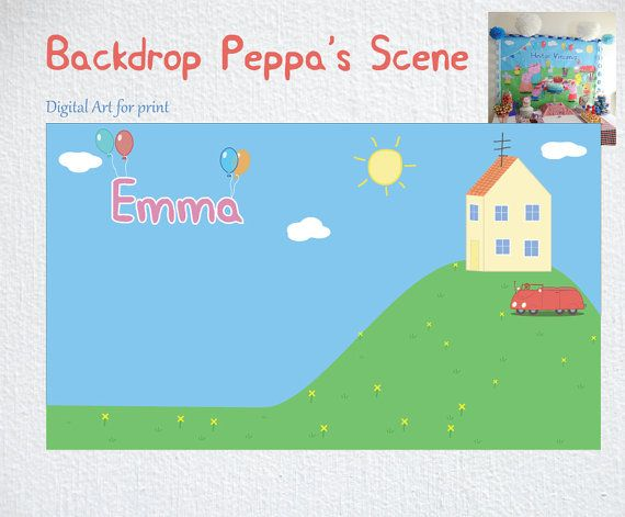 Home PEPPA e GEORGE PIG Party Backdrop Digital by BolleBluParty