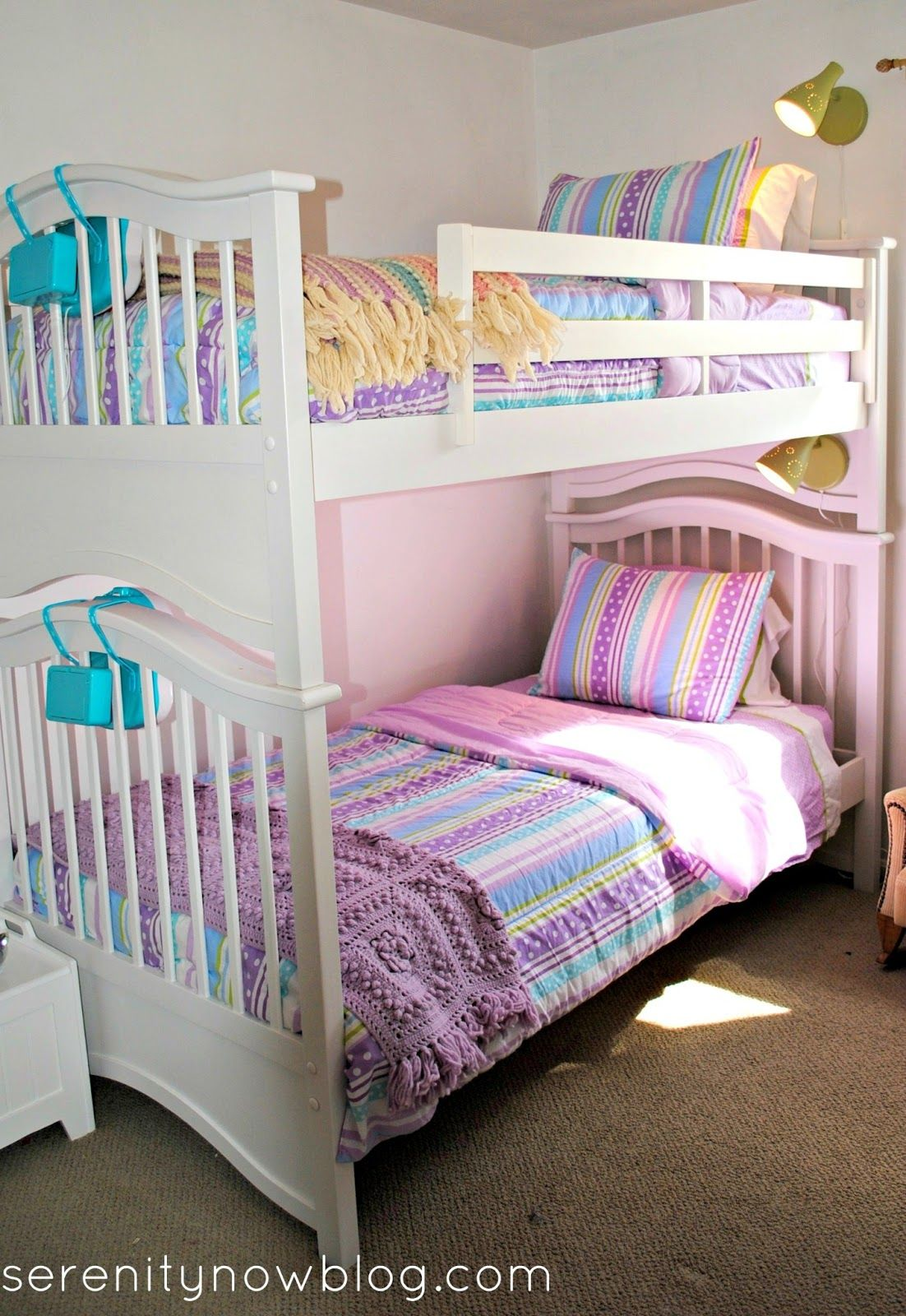 Girls Bunk Beds Add Ikea Lamps To Girls Bunk Beds From Serenity