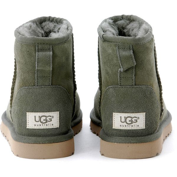 Ugg Mini Classic Hunter Green Ankle Boots ❤ liked on Polyvore featuring shoes, boots, ankle booties, bootie boots, ugg australia, short boots, ...