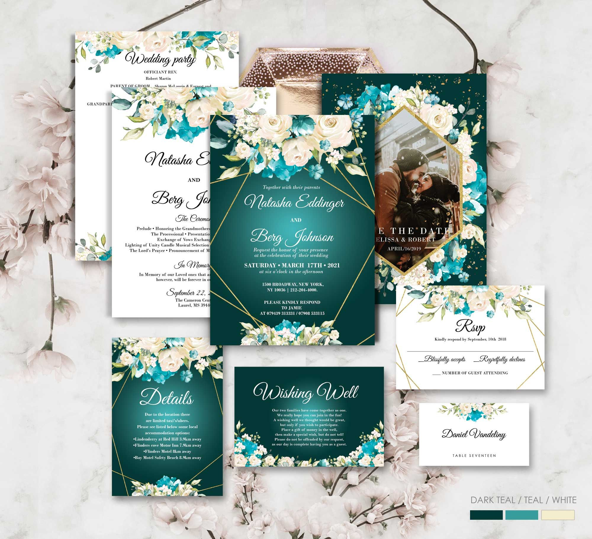 Editable Wedding Invitation Template Teal And White Floral Etsy Teal Wedding Invitations Turquoise Wedding Invitations Wedding Invitation Templates