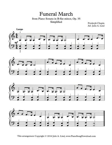 Funeral March Chopin Simplified Printable Piano Sheet Music