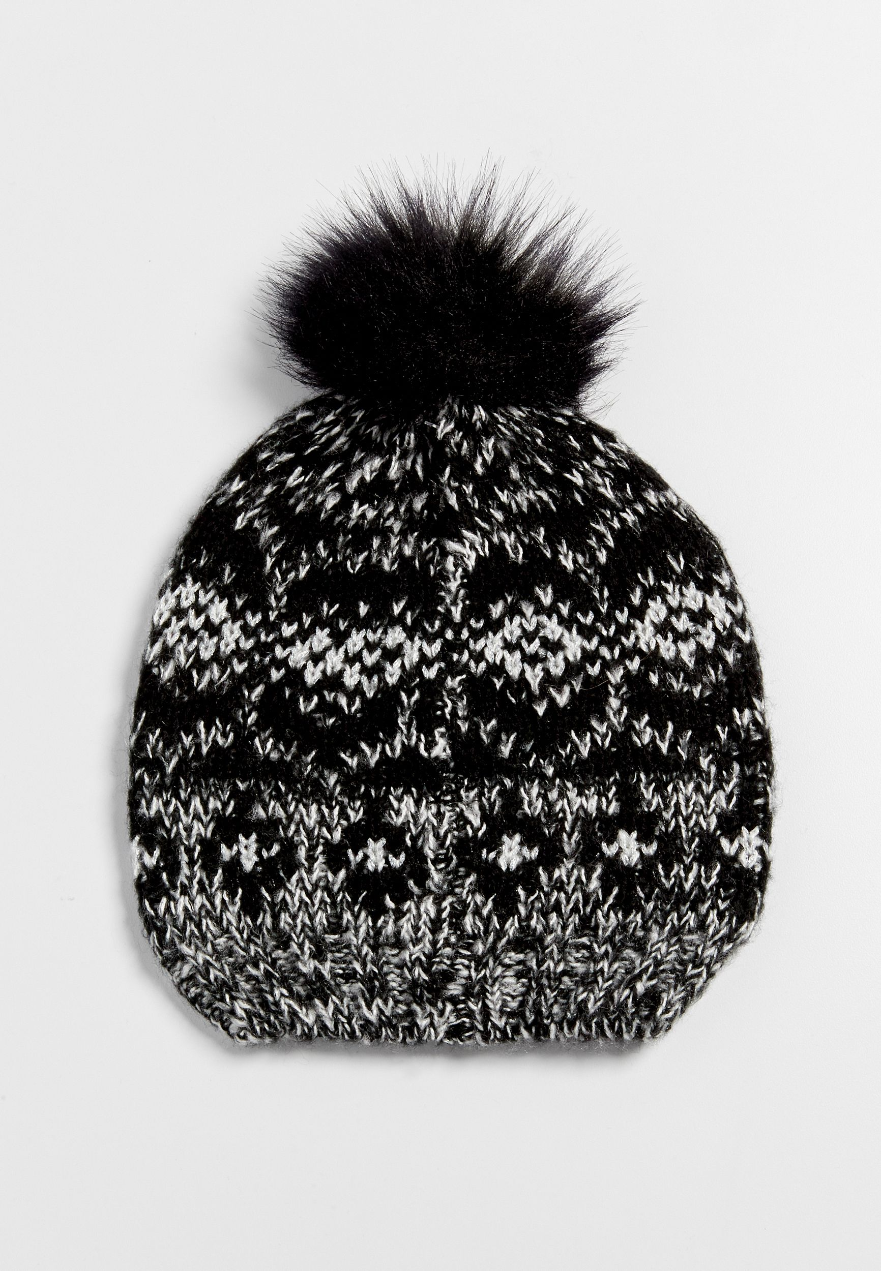 d7f2ea6ba81 patterned knit hat with faux fur pompom and metallic stitching (original  price