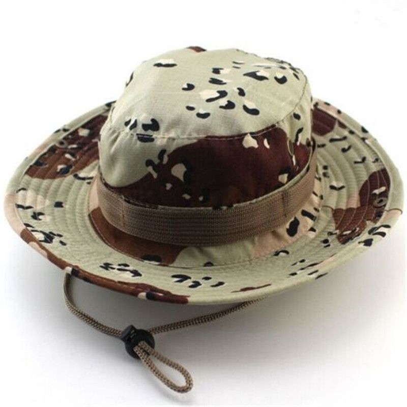 8d33565572b69 Camouflage Bucket Hats Wide Brim Sun Cap Ripstop Camo Fishing Hunting  Hiking Men Safari Summer Jungle with String Boonie Hat