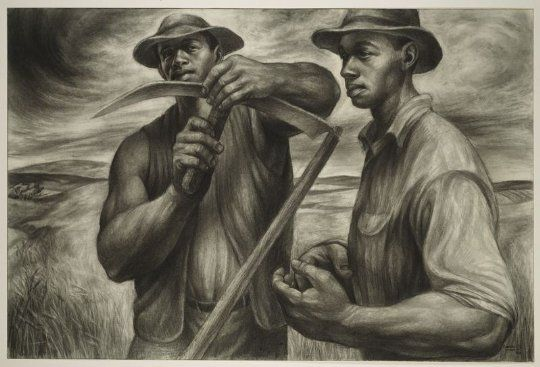 Harvest Talk, 1953. Charles Wilbert White (American, 1918-1979) Charcoal, Wolff's carbon drawing pencil, and graphite, with stumping and erasing on ivory ...