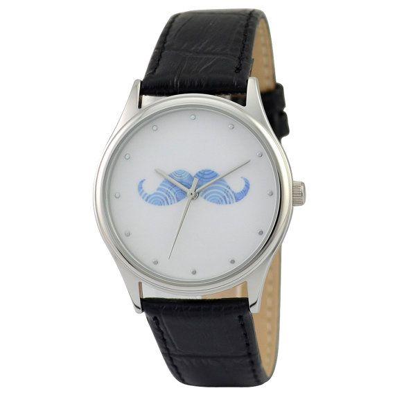 Moustache Watch Blue by SandMwatch on Etsy, $39.00