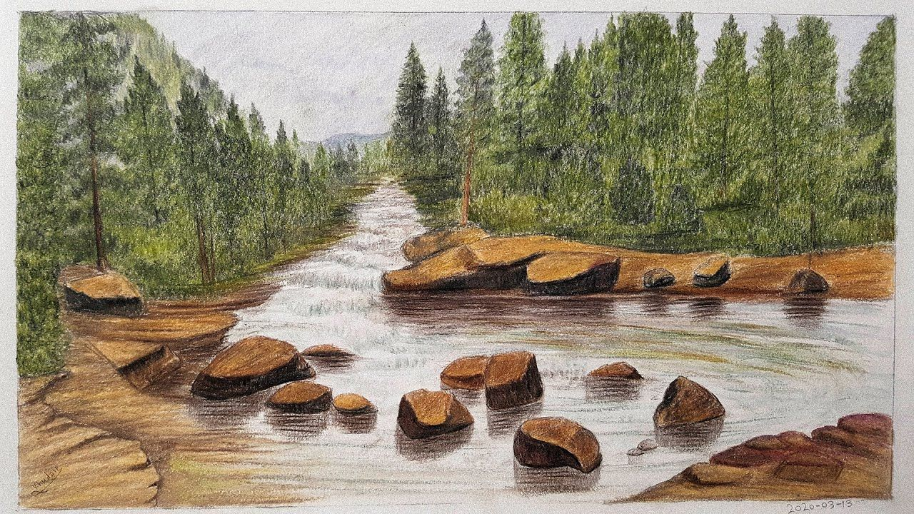 Landscape Painting With Colored Pencils Real Time Landscape Paintings Landscape Painting