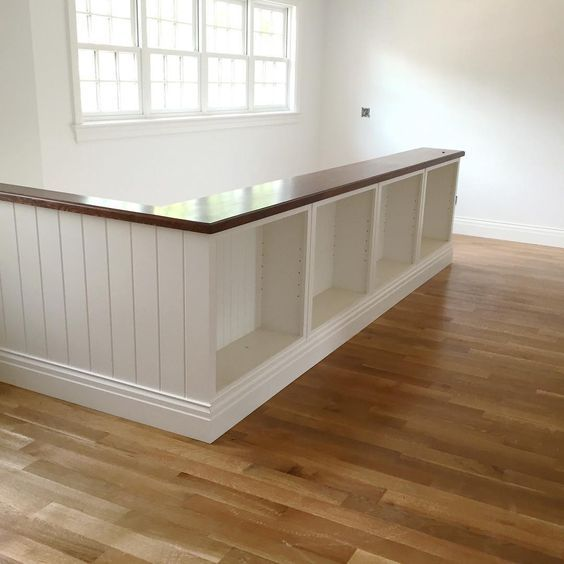 4 Diy Decorating Ideas For A Staircase: Second Floor Railing On . Shelves Ready To Go In Bookcase