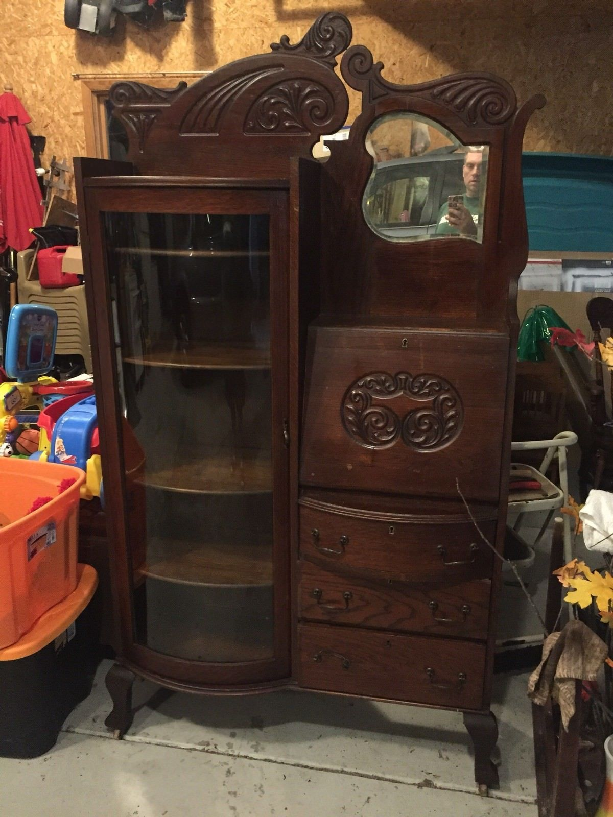 Antique 1890 Side By Side Secretary Bookcase Curved