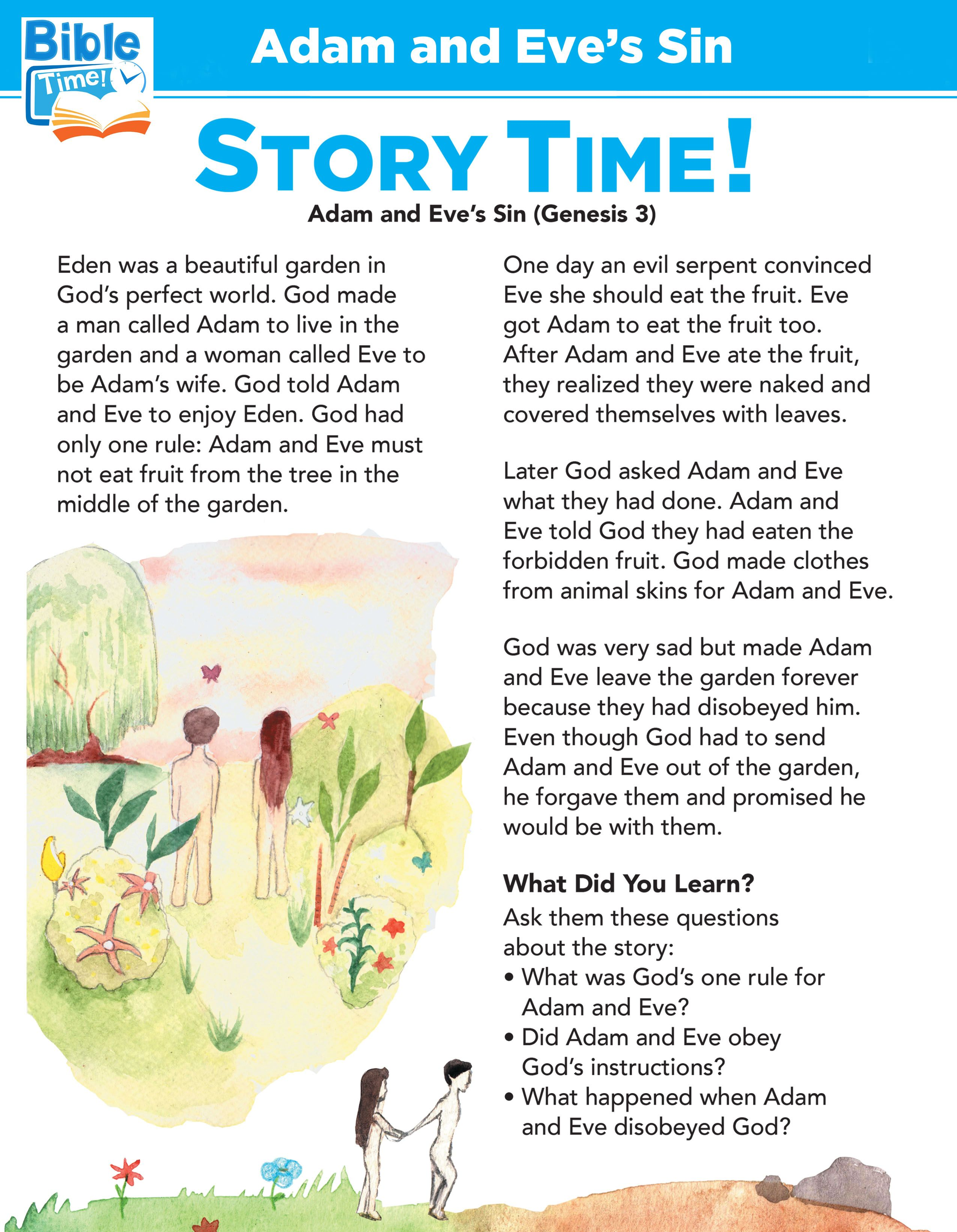 Adam And Eve In The Garden Of Eden Learning Activity Bible