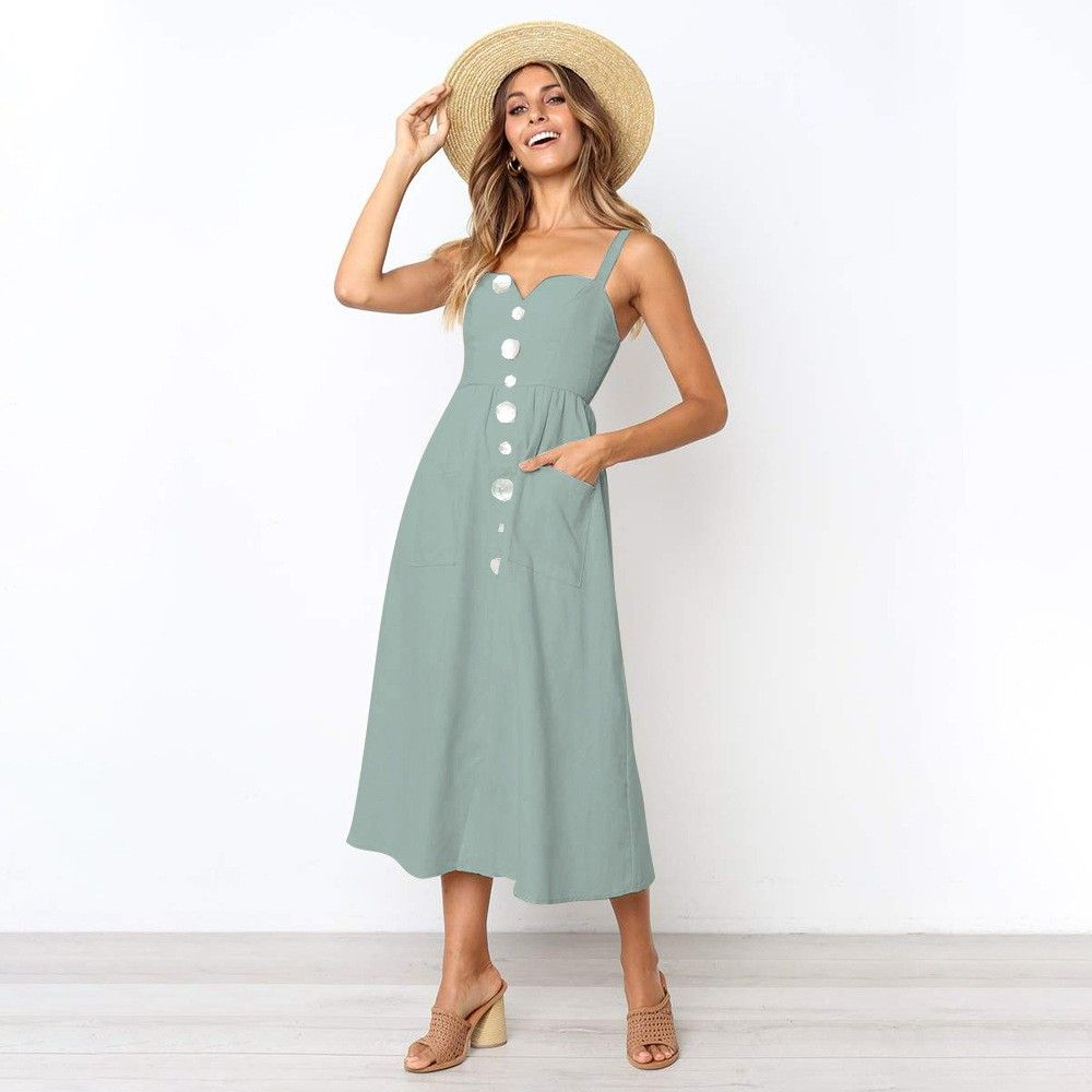 eabc0b7aead Missufe 5 Colors Midi Length Summer Dress Women Button Spaghetti Strap A  Line Boho Sundress 2019 Casual Off Shoulder Beach Dress