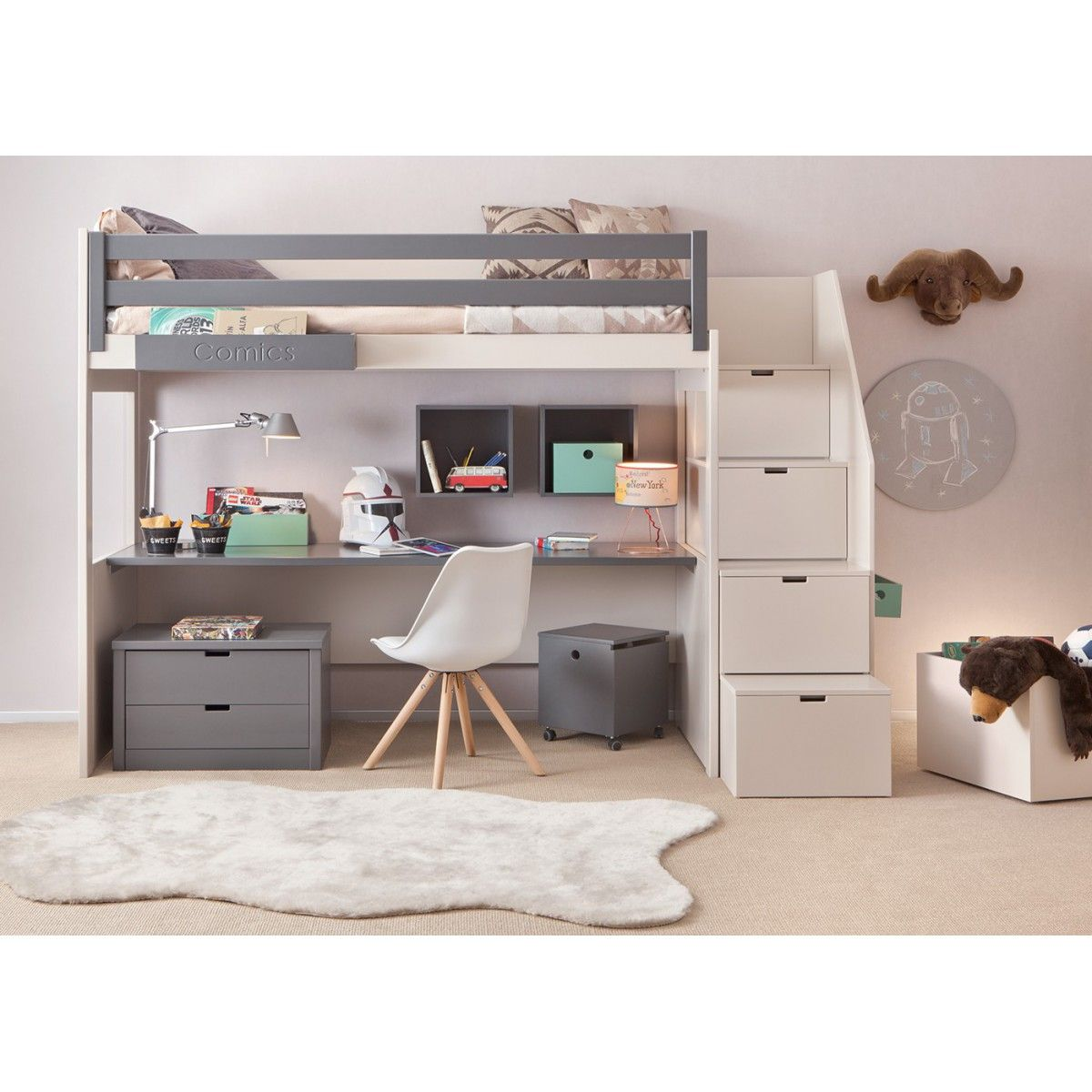chambre complete pour enfants ados avec lit mezzanine bureau et rangements asoral en 2019. Black Bedroom Furniture Sets. Home Design Ideas