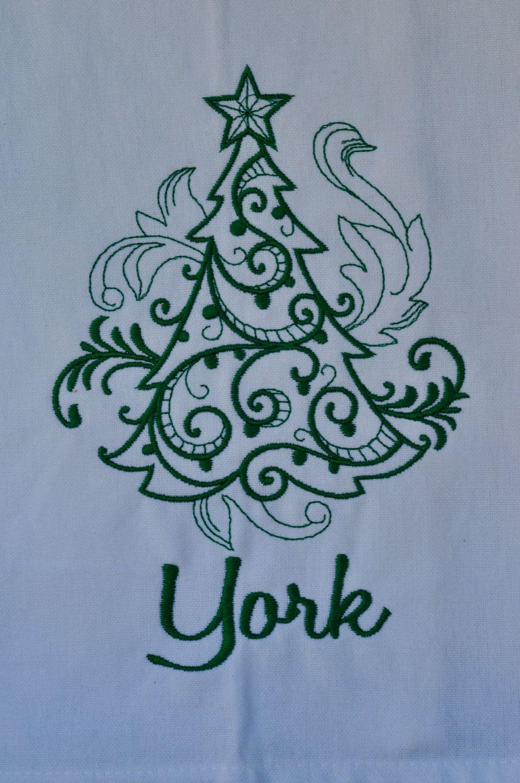 Christmas Tree and name Embroidered Dish Towel, Kitchen Towel, Bath ...