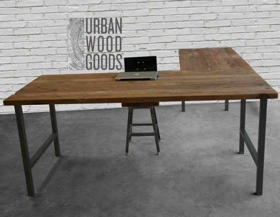 L Shaped Desk with reclaimed wood top and square by UrbanWoodGoods - L Shaped Desk With Reclaimed Wood Top And Square Steel Legs An