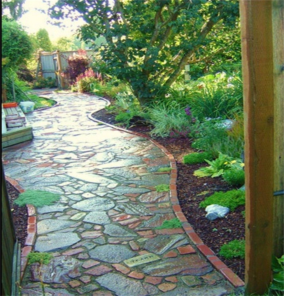 Walkways And Paths: Brick-edged Stone Garden Walkway