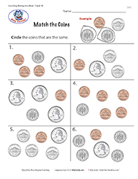 worksheet with coins circle the matching coins kindergarten teaching kids money coins. Black Bedroom Furniture Sets. Home Design Ideas