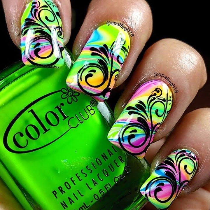 neon fun watermarble + nail stamping Pueen encore