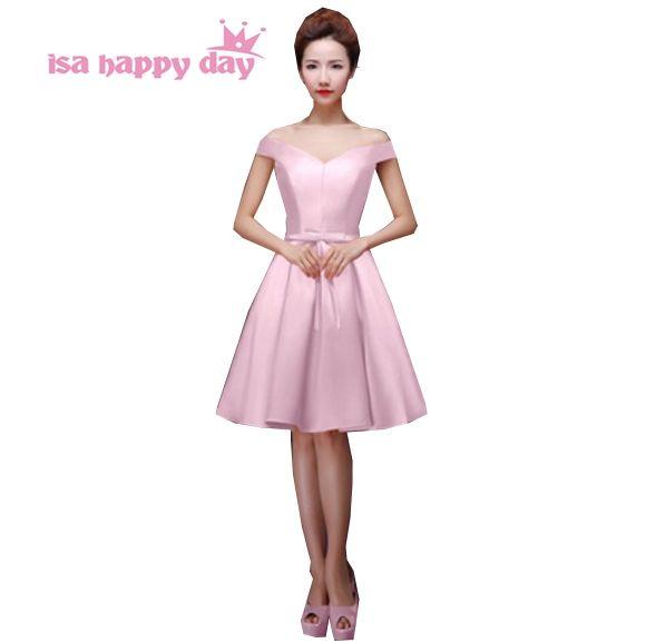 pink v neck simple satin princess ladies party dress short ...
