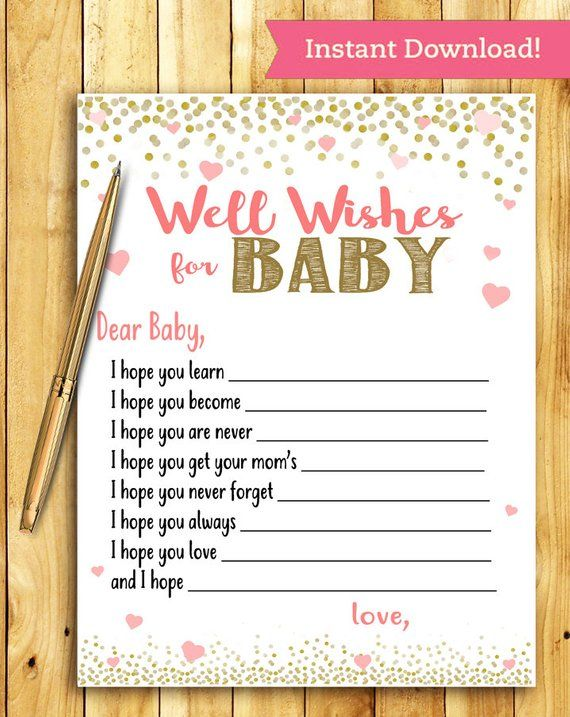 Baby Shower Game Activity Well Wishes For Baby Coral