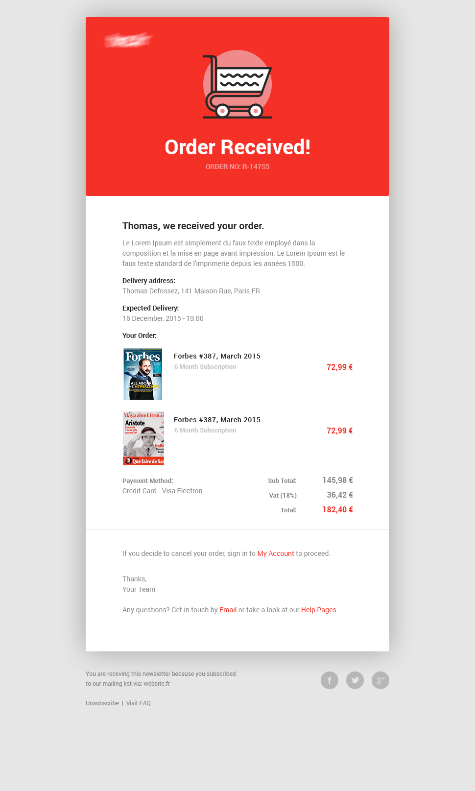 Newsletter Order Products Mobile App Creative UI Pinterest - Creative newsletter design templates