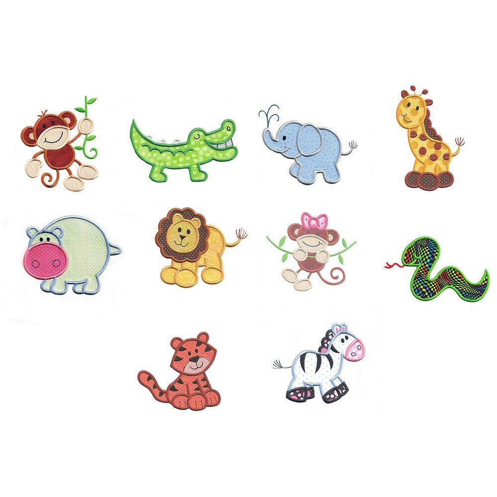 Cute jungle animals applique machine embroidery designs