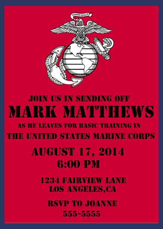 u s marine corps send off party invite diy budget friendly u s