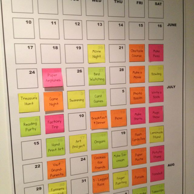 Make a summer calendar with post-it notes full of kids activities