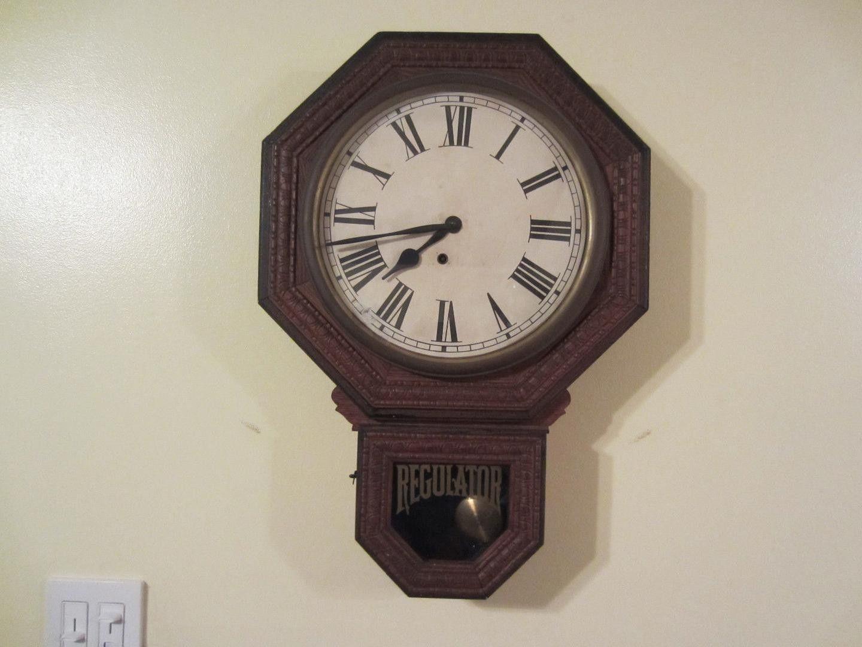 Antique e ingraham 10 inch drop octagon school house wall clock antique e ingraham 10 inch drop octagon school house wall clock early 1900s up for bid amipublicfo Images