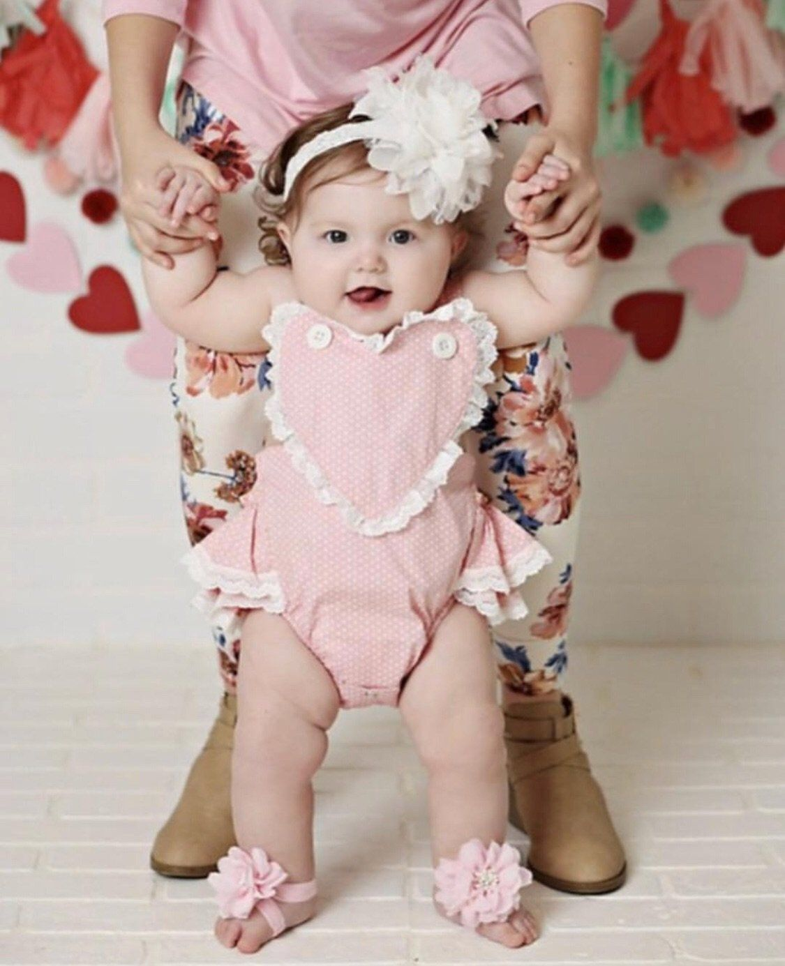 Little Love Retro Ruffle Romper - Pink