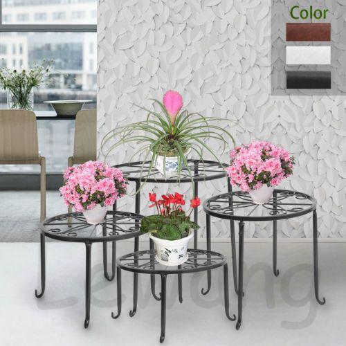 Uk 4 In 1 Suit Round Metal Plant Stand Flower Rack Decor Balcony
