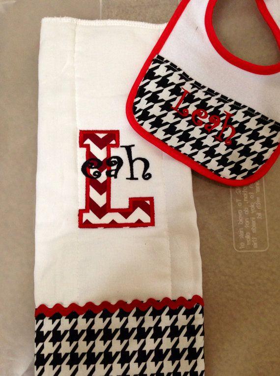 Matching burp cloth monogram name appliqué by EmbroideryByEmilyLLC, $15.00
