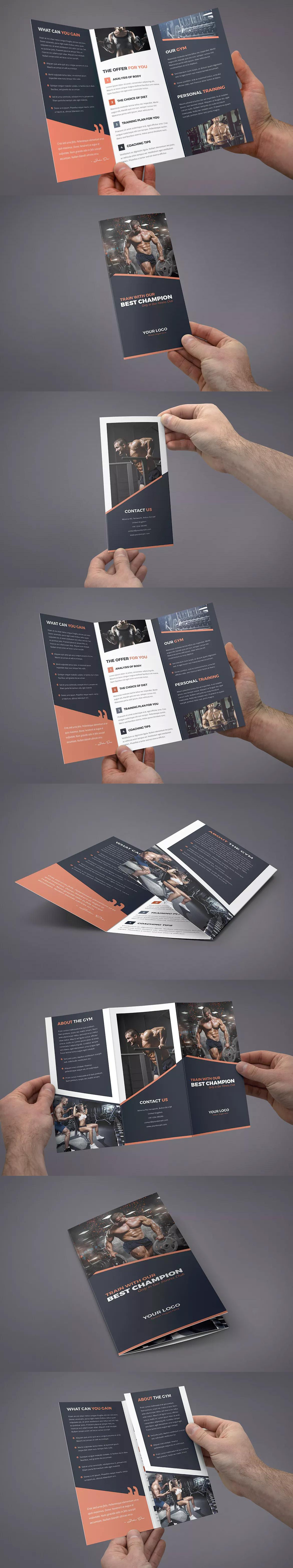Brochure U2013 Gym Tri Fold Template PSD