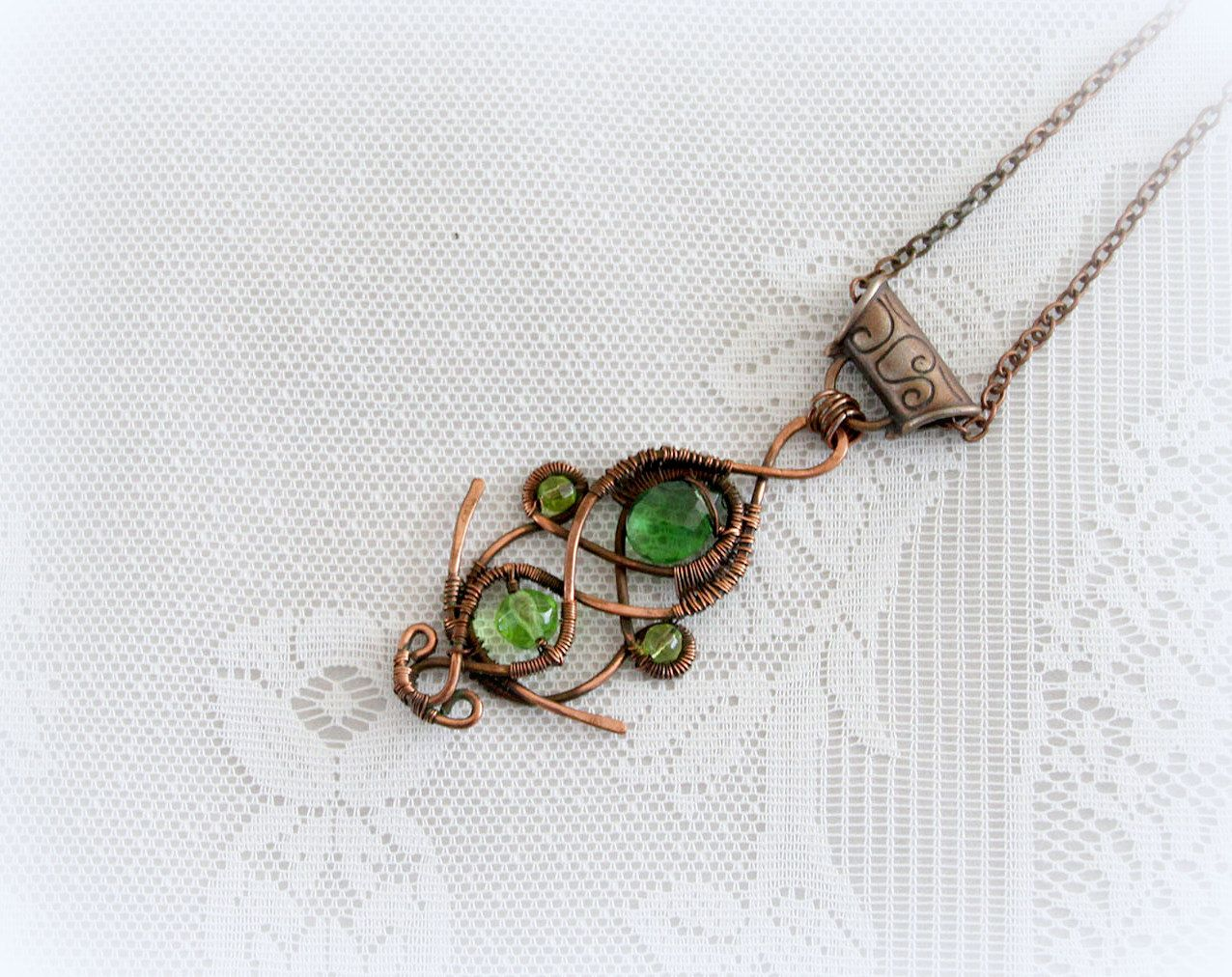 Green crystals Wire Wrap Pendant in Copper , unique Jewelry, green ...