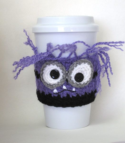 Crocheted Evil Purple Minion Coffee Cup By Theenchantedladybug
