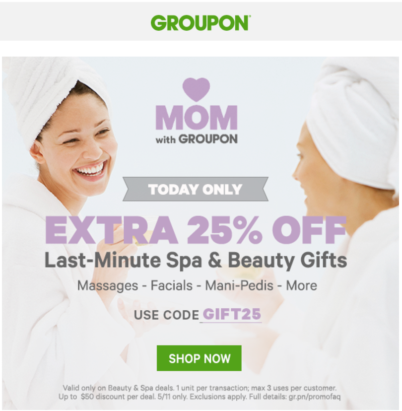 Groupon Canada Mothers Day Last Minute Spa Beauty Gifts Sale Save An Extra 25 On Last Minute Spa Beauty G Http Www La Beauty Gift Sales Gifts Beauty