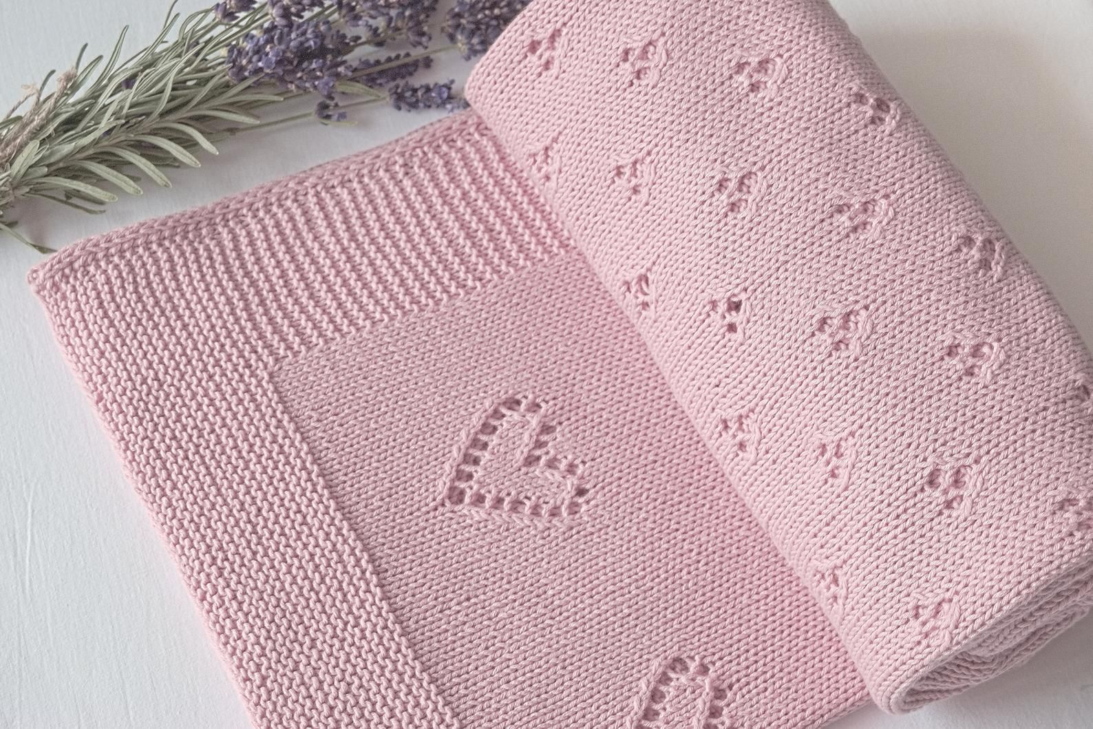 100 Cotton Hand Knitted Baby Blanket Pink Blanket In The Heart For Baby Stroller And Cot Environmentally Friendly Blanket Baby Stroller Blankets Knitted Baby Blanket Baby Knitting