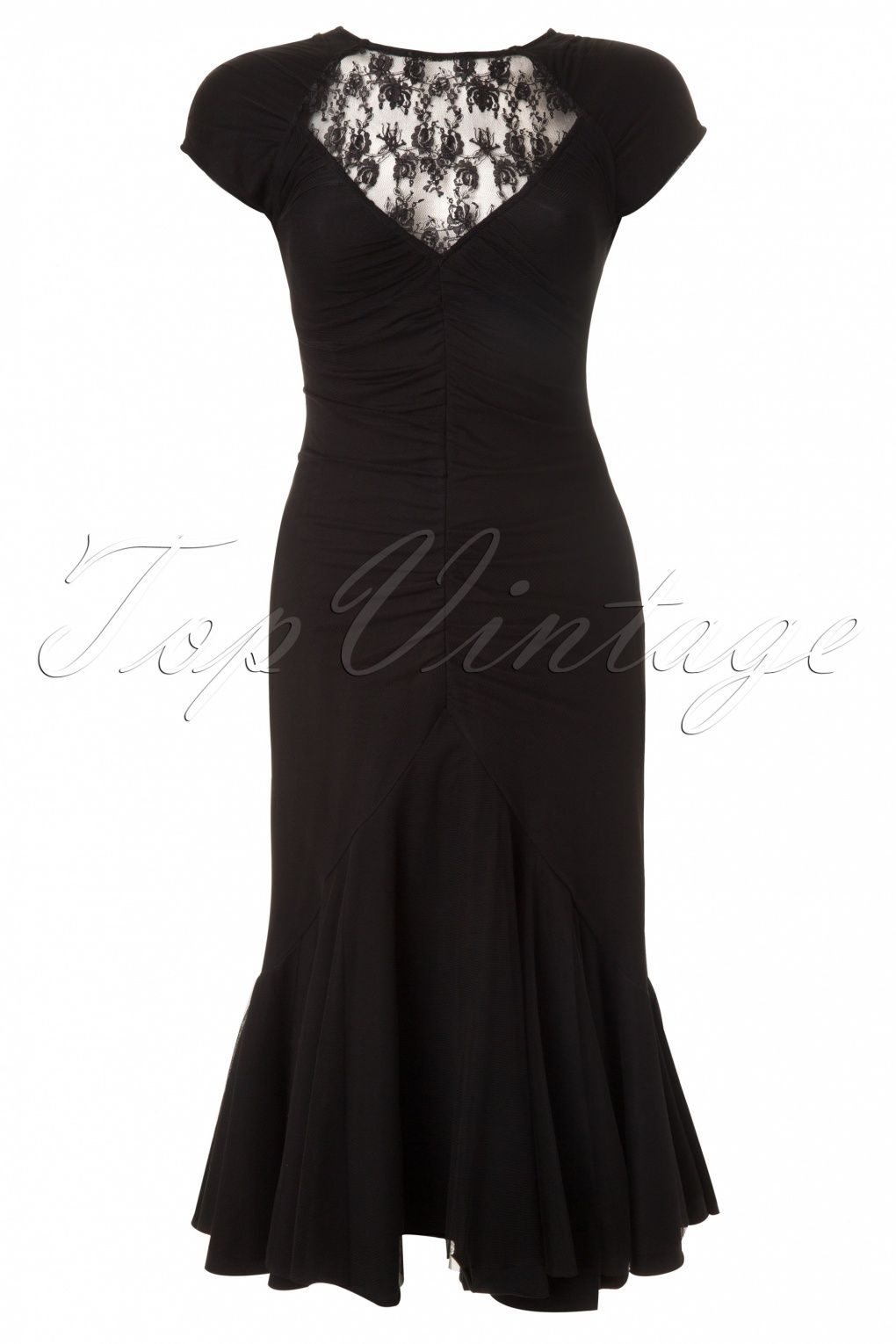 Spin Doctor - 1930s Ariana Black Lace Fishtail Dress | The little ...