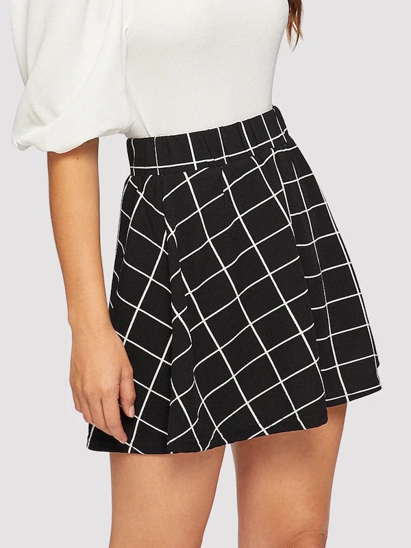 Elastic Waist Grid Textured Skirt