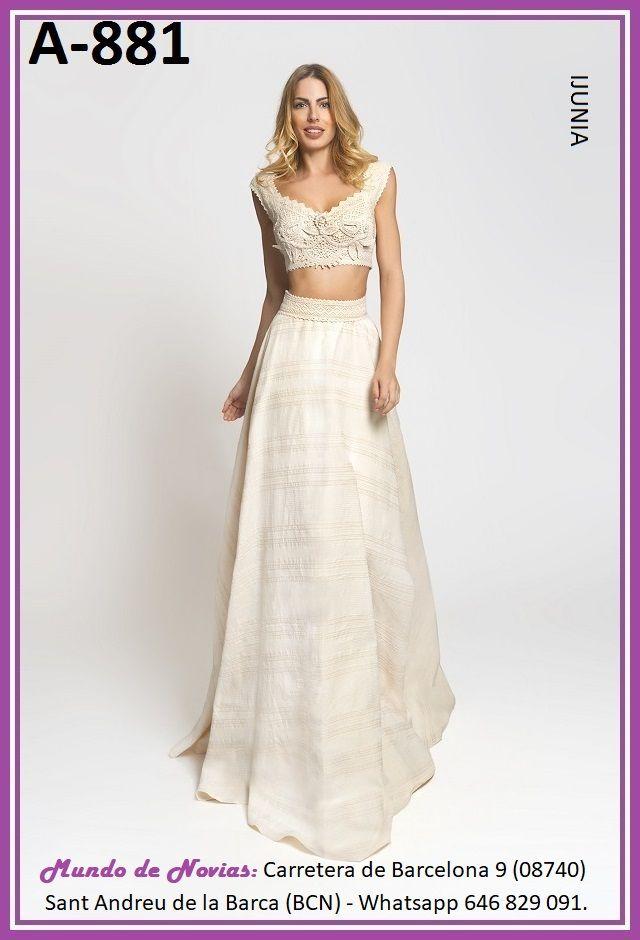Exclusivo y Original Vestido de Novia Bohemio y Vintage con TOP y ...