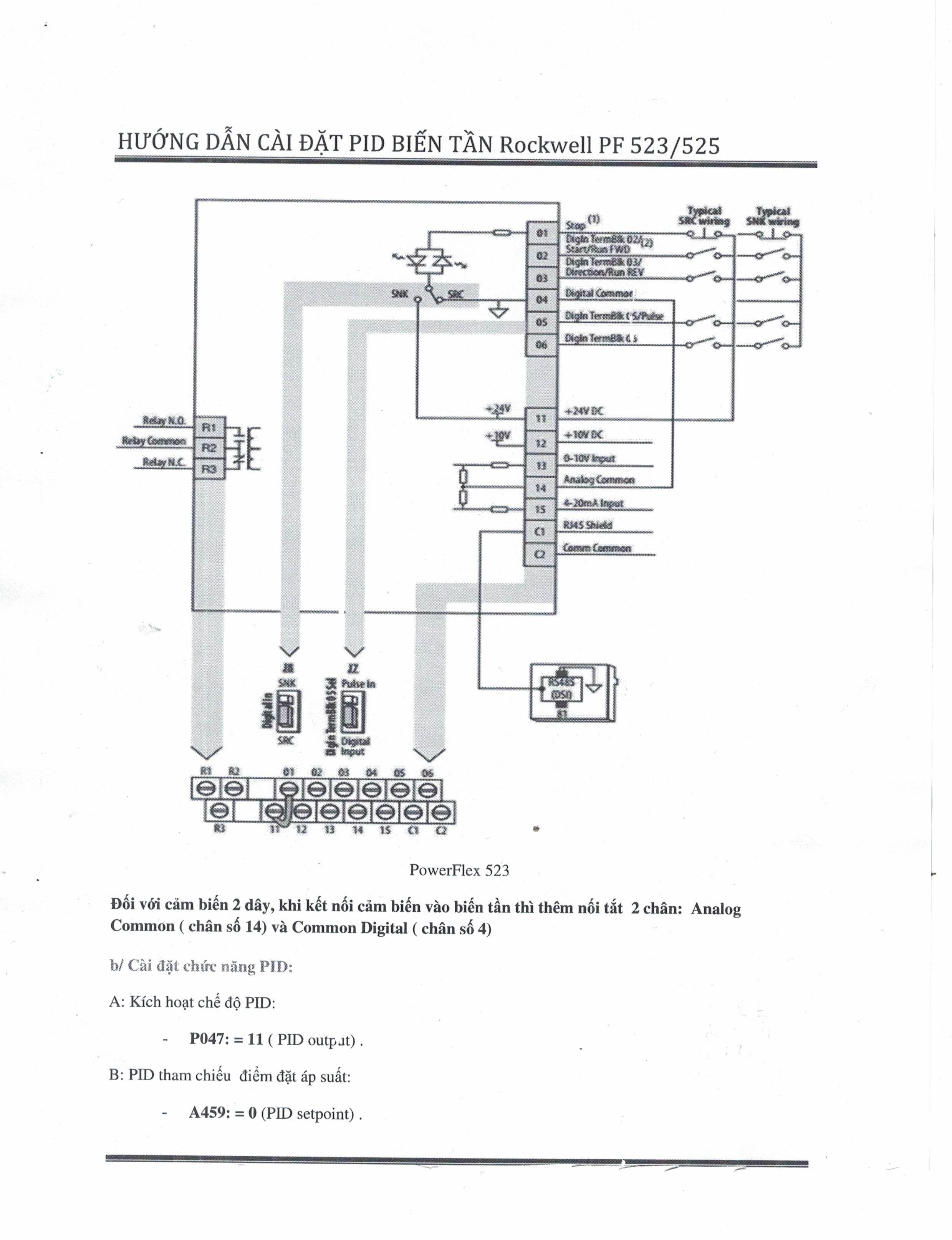 Cài đặt biến tần Rockwell PowerFlex 523 Power Flex 525