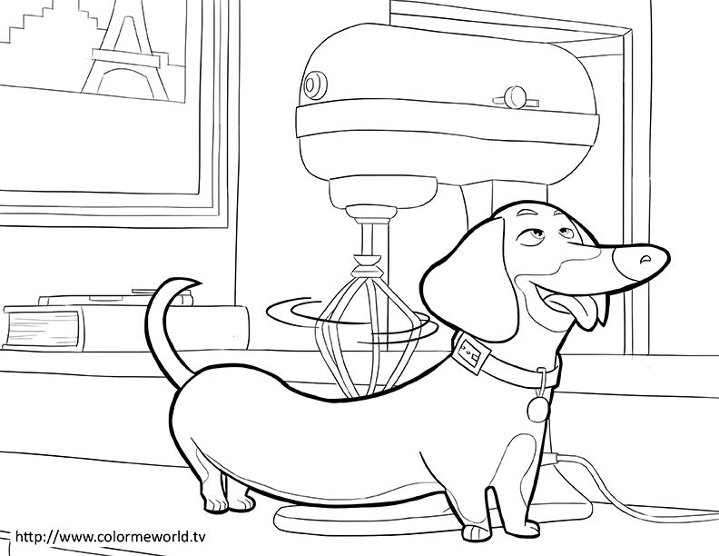 The Secret Life Of Pets Coloring Page Craft Kiddies Dachshunds