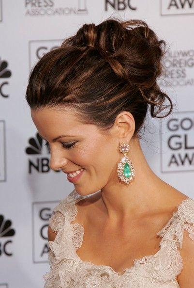 Kate Beckinsale Loose Bun Peinados, Accesorios y Peinado trenzado