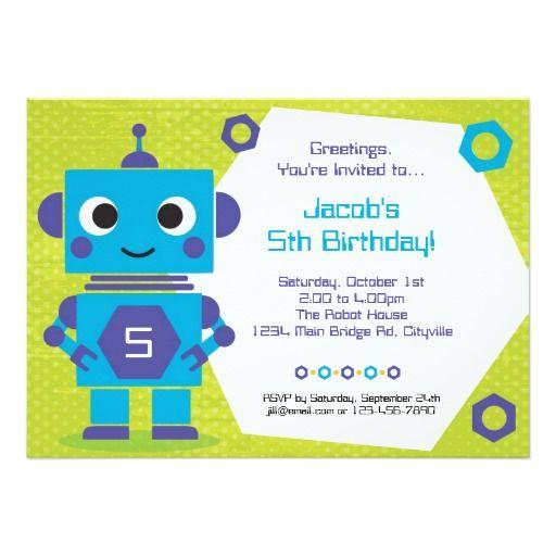 Robot birthday invitation robot birthday party invitations robot birthday invitation filmwisefo Gallery
