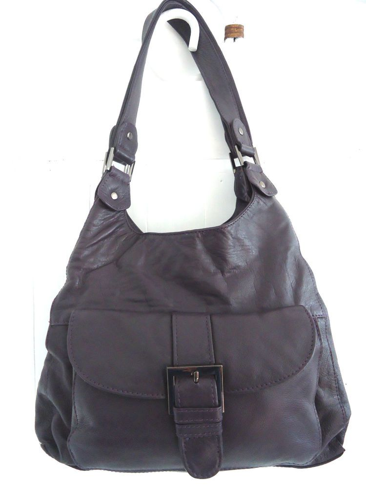 Clarks Purple Leather Hobo Handbag Shoulder Bag Double Handle Made In India