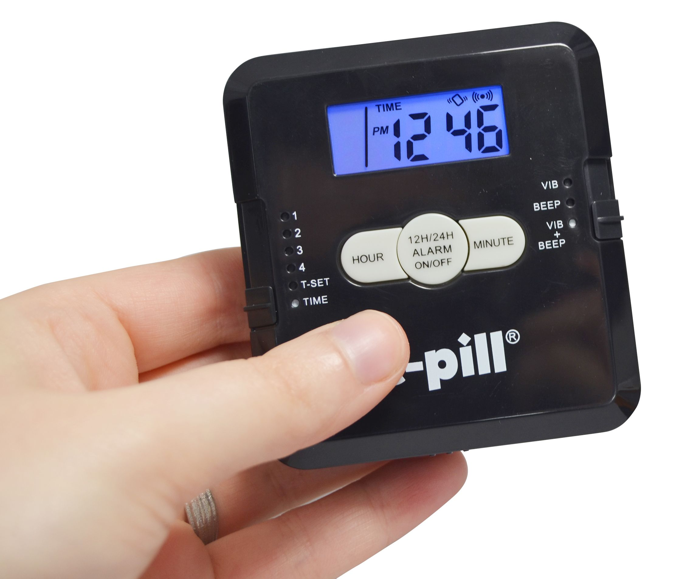 epill.com the 4 Alarm Vibrating Pill Box is now available in BLACK!