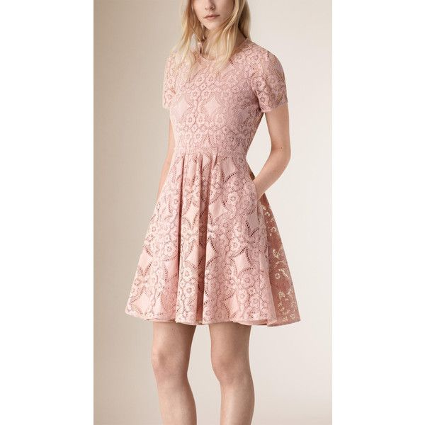 Burberry English Lace A-line Dress (2,500 NZD) ❤ liked on Polyvore featuring dresses, sheer sleeve lace dress, lacy dress, pink a line dress, sheer sleeve dress and lace a line dress