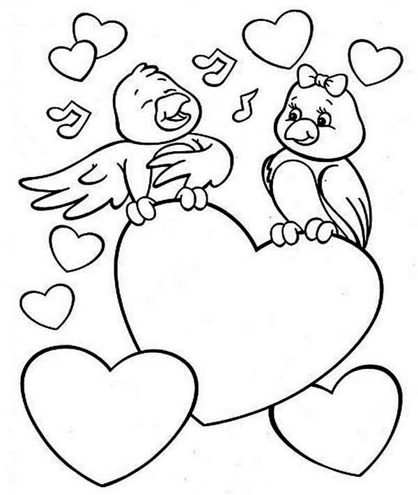 Valentine S Day Two Cute Birds On Valentine S Day Coloring Page